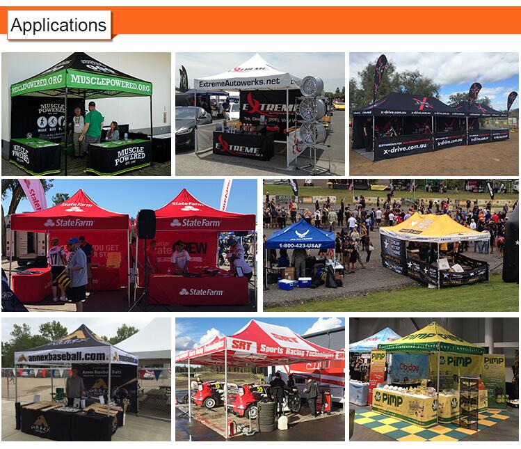 application of our custom printed tents