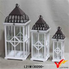 Lanternes en bois de rectangle blanc antique pour arrière-cour