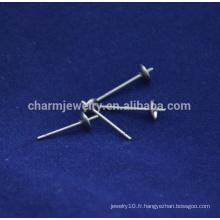 BXG040 316/304 Boucles d'oreille en acier inoxydable en ton argent avec dos Boucles d'oreilles Résultats Bijouterie