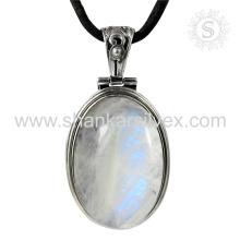 Изящный Радужный Лунный камень драгоценных камней серебряный кулон 925 ювелирные изделия оптом серебряные ювелирные изделия