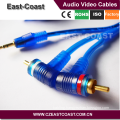 Transparent 3.5mm right angle stereo audio cable