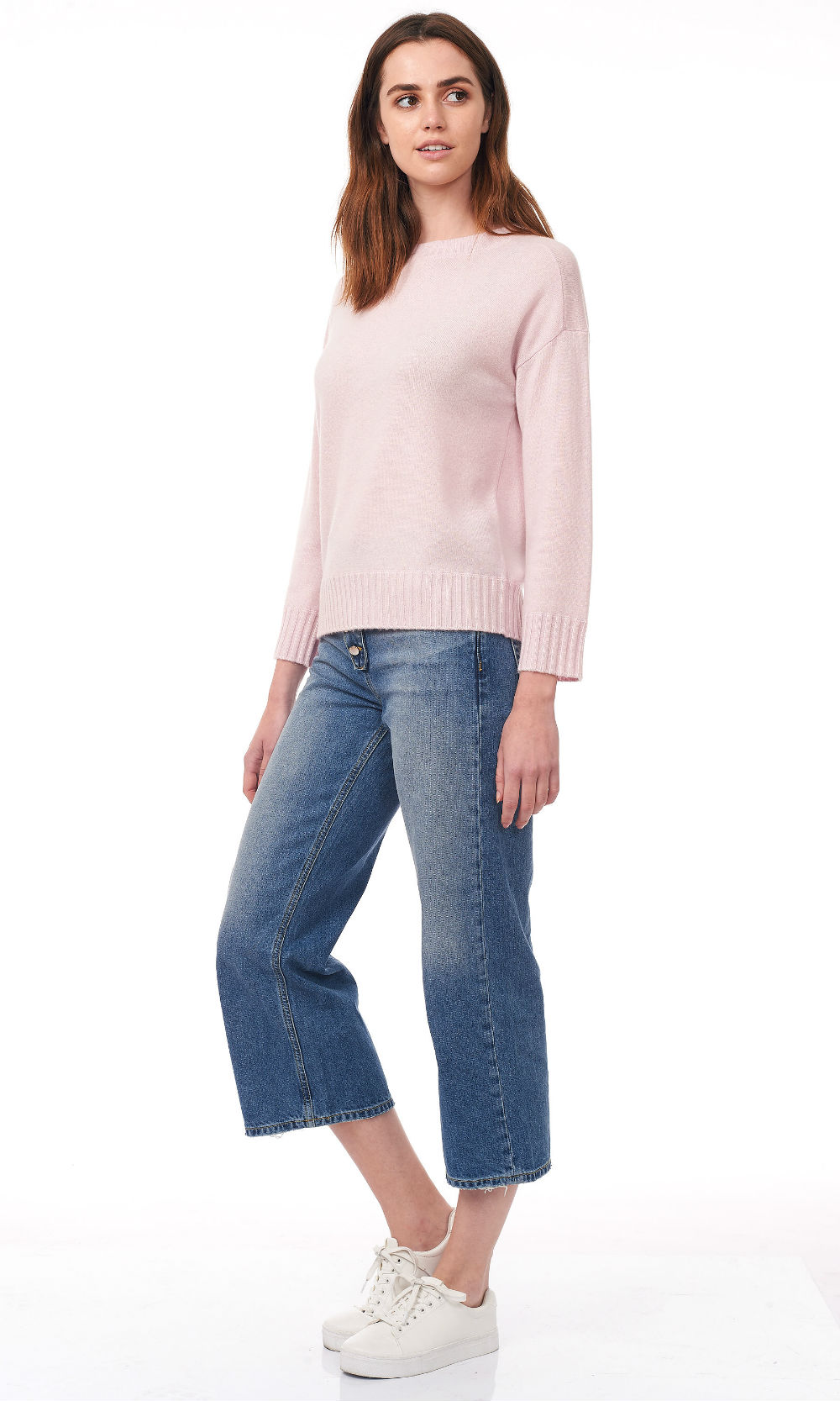 pink cropped round neck sweater side