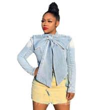 Wholesale Latest Design Autumn Plus Size Solid Color Bow 2020 Womens Fall Jean Jacket Women