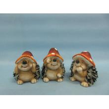 Mushroom Hedgehog forma de artesanato de cerâmica (LOE2550-C7.5)