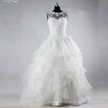 TW0158 Rüschen Sleevelss Boot Ausschnitt Applique Witn Nizza Perlen Brautkleid Brautkleid