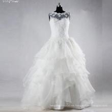 TW0158 Ruffles Sleevelss barco escote Applique Witn agradable rebordear vestido de novia vestido de novia