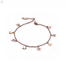 Vente chaude nouveau design cheville en or rose avec charmes en vrac étoiles