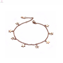 Hot sale new design rose gold anklet with bulk star charms