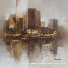 Td008A Original Design City Sights Abstract Hand Made Oil Painting