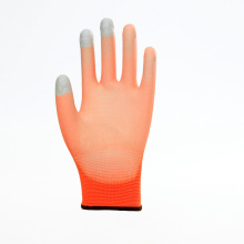 Três dedos Touch Screen PU Safety Luvas