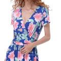 Kate Kasin mujeres elegante verano floral patrón de manga corta cuello en V Maxi vestido KK000686-1
