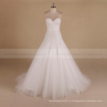 Brillant bretelles Bling Beads Slim A-ligne Sweet Heart Robe de mariée Chapel Tail