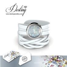 Destin bijoux cristal de Swarovski Wrap en cuir montre