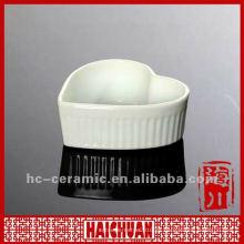 Platos de cerámica para hornear el corazón, plato en forma de corazón de porcelana