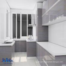 Handless MDF High Gloss UV Kitchen Cabinets