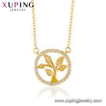 44442 bijoux xuping vie plaqué or 24 carats rond collier avec pendentif élégant