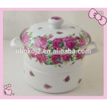 full decal and enamel handle enamel lid knob and rose decal of carbon steel printed enamel steamer