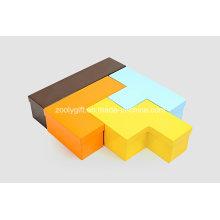 Exposição de cartão Rússia Bloco Tetris em forma de caixas de jóias
