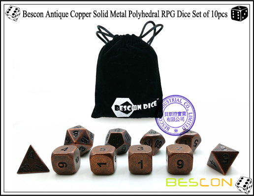 Bescon Antique Copper Solid Metal Polyhedral RPG Dice Set of 10pcs-5