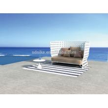 SL-(88) outdoor patio furniture PE rattan high back sofa cum bed/ sleeper sofa