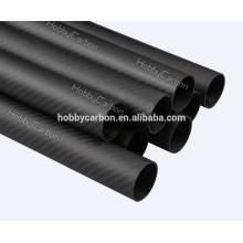 Tubulação do carbono da fábrica 22mm, tubo redondo tecido da fibra do carbono 3K