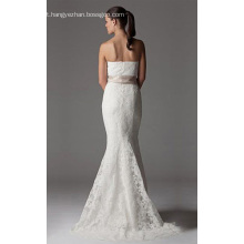 Trompete sereia sem alças capela trem laço vestido de noiva da fita