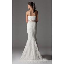 Trompete sereia sem alças capela trem laço fita vestido de noiva