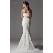 Trumpet Mermaid Strapless Chapel Train Lace Ribbon Wedding Dress