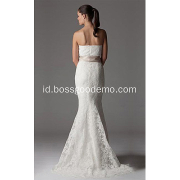 Trumpet Mermaid Strapless Chapel Kereta Lace Ribbon Wedding Dress