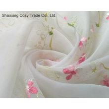 Flower Desgin Voile bordado tecido de cortina