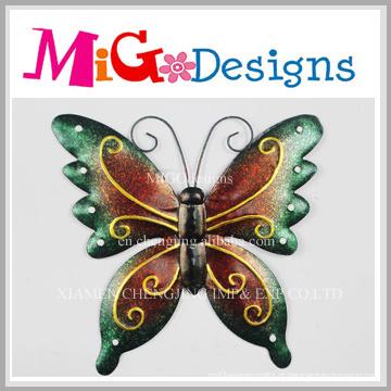 Metal bonito e decoração de parede de borboleta de vidro