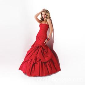 Estilo Europeo Vestido de Novia Rojo con Perla
