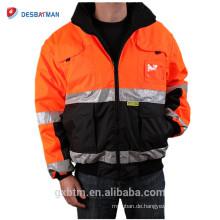 ANSI Klasse 3 Custom High Visibility Reflektierende Winter Sicherheitsjacke Arbeitskleidung Orange Reversible Hallo Vis Mit Kapuze Parker