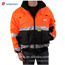 ANSI Class 3 Custom High Visibility Reflective Winter Safety Jacket Workwear Orange Reversible Hi Vis Hooded Parker