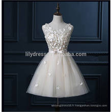 Real Sample High Quality Full Handmade Flowers Ivory Short Robes de bal pour les adolescents 2016 avec Bow Sash Lace Formal Gowns ML113