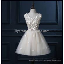 Real Sample High Quality Full Handmade Flowers Ivory Short Prom Dresses For Teens 2016 Com Bow Sash Lace Vestidos formais ML113