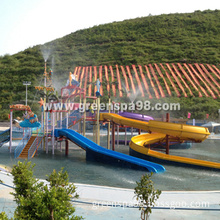 Outdoor Kid's Water Playground Structure with Water Slide, Water Spray, Climb Net.