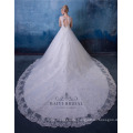 Elegante Perlen bestickt eine Linie Brautkleider mit Schwanz HA546