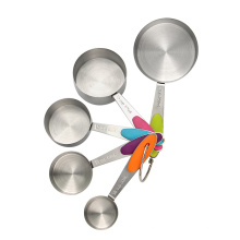 Stainless steel measuring cup set with silicone handle
