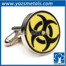Biohazard symbol cufflinks, customize high quality metal cufflink crafts