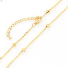 Algemas na moda colar de aço inoxidável, colar de corrente de ouro puro