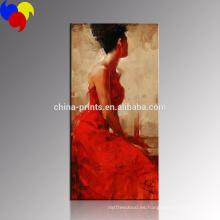 Mujeres elegantes que pintan el arte / la decoración roja de la pared de las mujeres del vestido / las pinturas al por mayor de la sala de estar