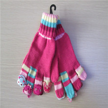 child  acrylic knitted cartoon applique magic  gloves