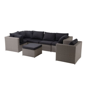 Steel rattan conversation sofa set