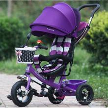 New 4 in 1 Trike Kid Tricycle Toddler Adjustable Stroller Bike Ride on Purple