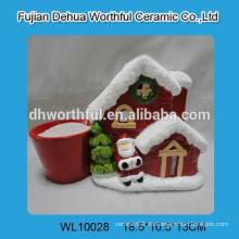 Red Christmas House Design Keramik Blume Pot