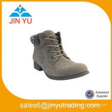 Women Fur Chunky Heel Ankle Boots