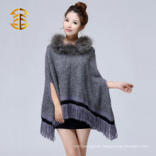 Hot new product for rabbit fur knitted fashion style raccoon fur cape