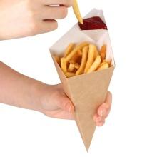 Offset-Logo gedruckt braune Kraftpapiertüte für Pommes frites Waffelverpackung Einweg-Pommes-Papiertüte