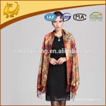 Nouvelle écharpe à rayures en paillettes en laine à fleurs à deux faces